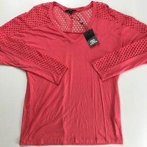 NWT - TART Coral Perforated Long Sleeve Top
